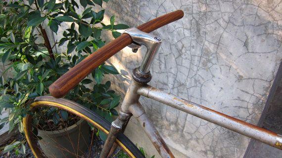 bicycle handlebar round tip at both ends solid TEAK door babekeen
