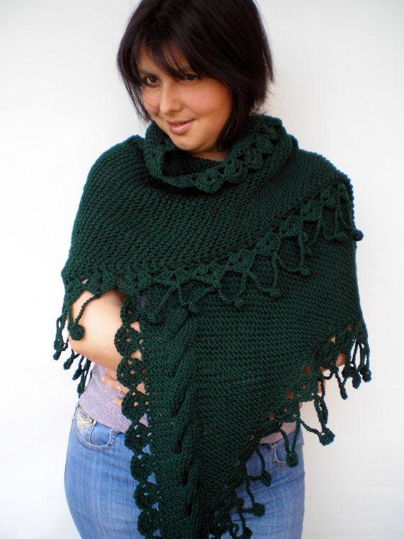 Darck Green Shawl Hand Knit Triangular Shawl Super by NonnaLia, $115.00