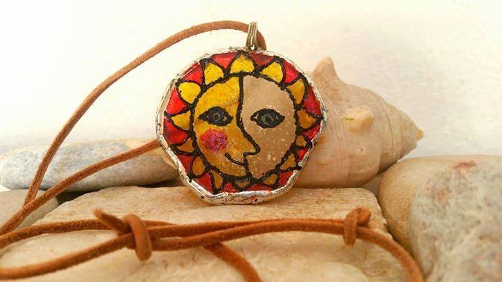 rainbow suncatcher seaglass pendant ornament sea glass hippie decor smiling sun greek shop