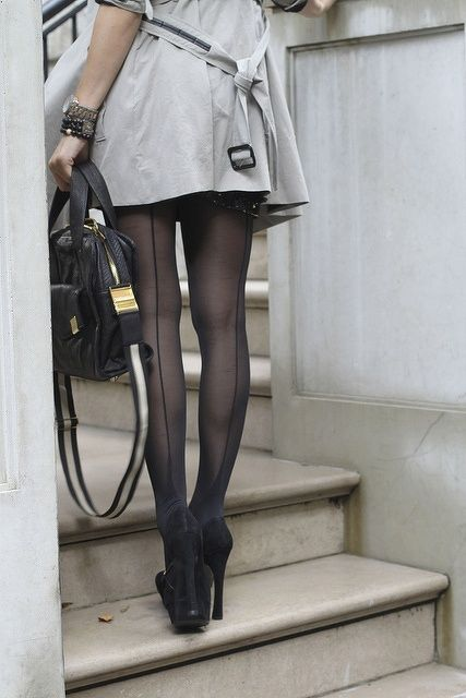 Stylish look! Love the seamed stockings and those heels!