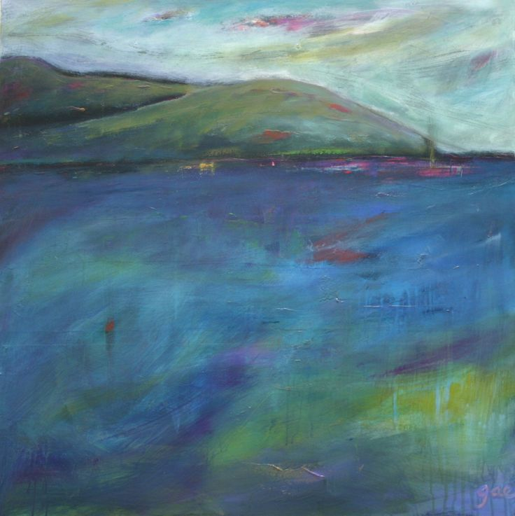 """""""wind heather and sea this land calls to me"""" Acrylic on canvas - SOLD"""