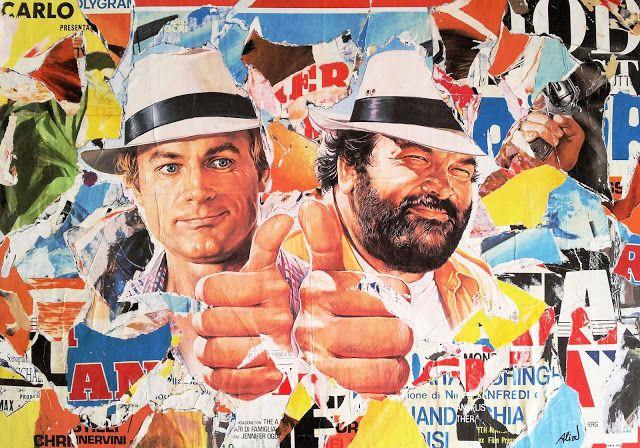Umberto Alizzi Bud Spencer e Terence Hill Non c'è due senza  quattro décollage vintage movie poster collage Mimmo Rotella Villeglè pop art