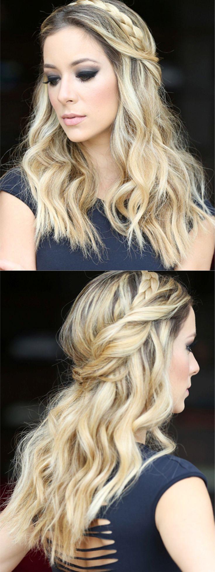 Cabelo modelado com babyliss e com traça usada como tiara #waves #braid #hair #updo
