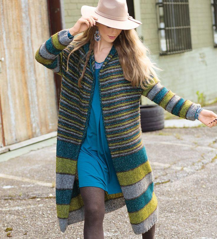 Полосатое пальто с капюшоном - схема вязания спицами. Вяжем Пальто на Verena.ru
