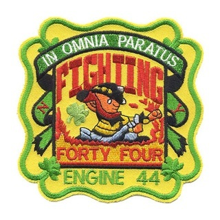 Engine 44 Fighting 44 patch Irish firefighter embroidered patch with the Latin phrase In Omnia Paratus with translate to Ready For Anything.