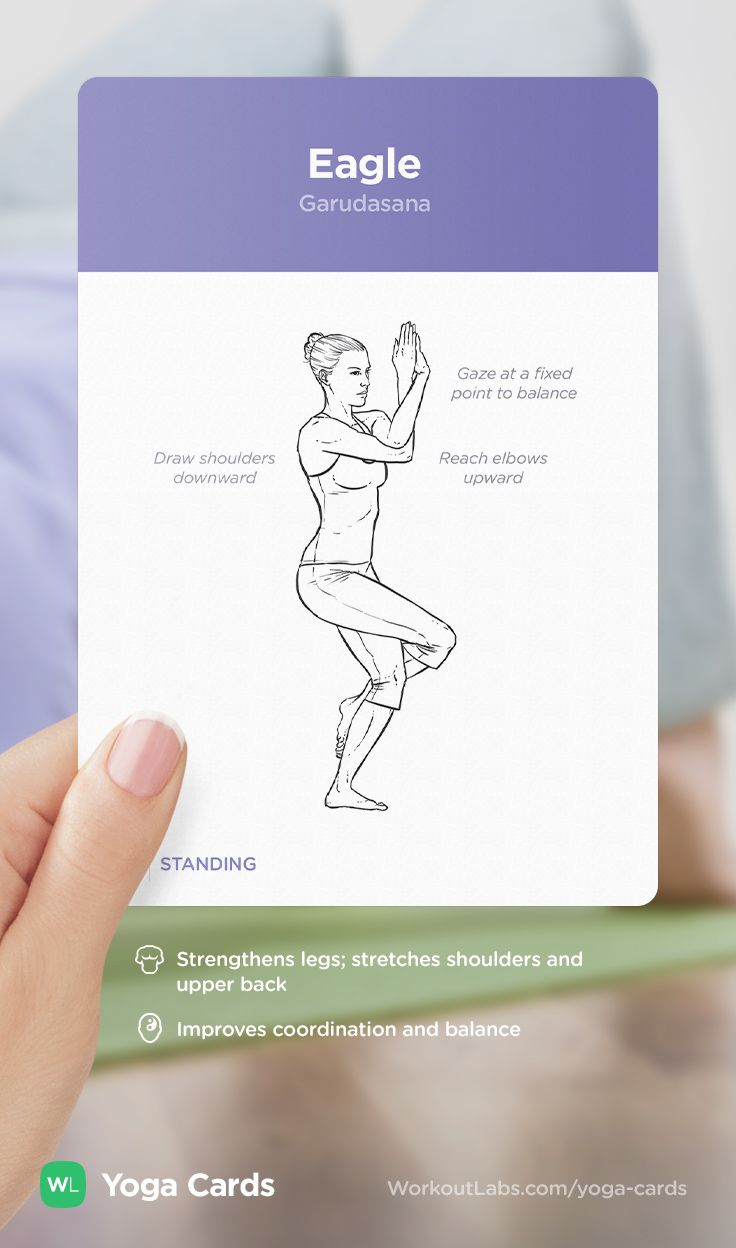 HOW TO: Eagle yoga position – visual workout sequence pose and benefits guide for beginners from the YOGA CARDS deck by WorkoutLabs: http://WLshop.co