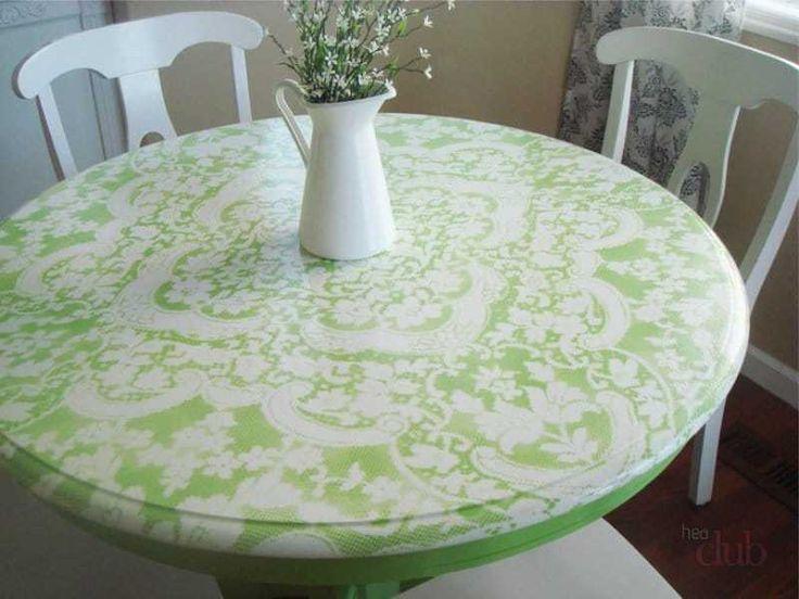 Декупаж стола акриловыми красками через тюль
