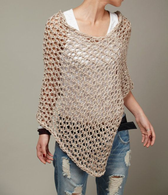 This loose weaved beautiful poncho is made of 100% eco cotton in nice light wheat shade. It is a perfect item for Fall that you want to feel a little warmer on a morning or evening. It also can be wear in winter as a scarf. Size: S(0-4)M(6-8)L(10-12)XL(12-14)Made for order.  Hand wash only and lay flat to dry.  I have other colors for this poncho. Pls. Check my shop for details: http://www.etsy.com/shop/MaxMelody?section_id=7175104  Made to order. Pls. Allow me 5-7 da...