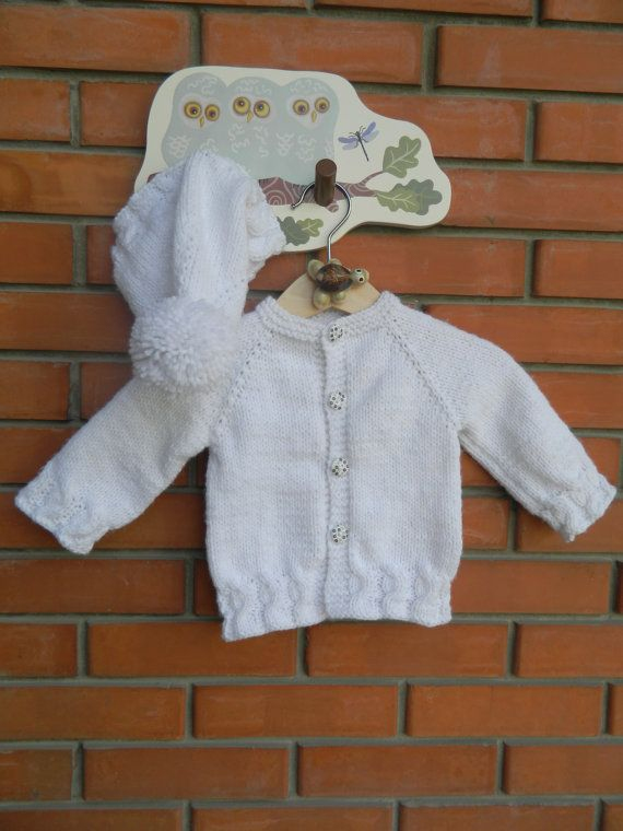 Knit Baby Snow White Hat And Cardigan Set Cabled by RodiAndSuzi, $43.00