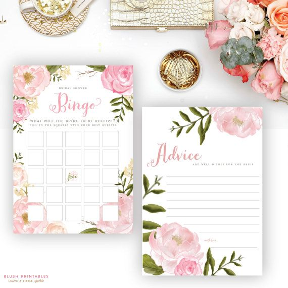 Printable Romantic Floral Bridal Shower Games by blushprintables