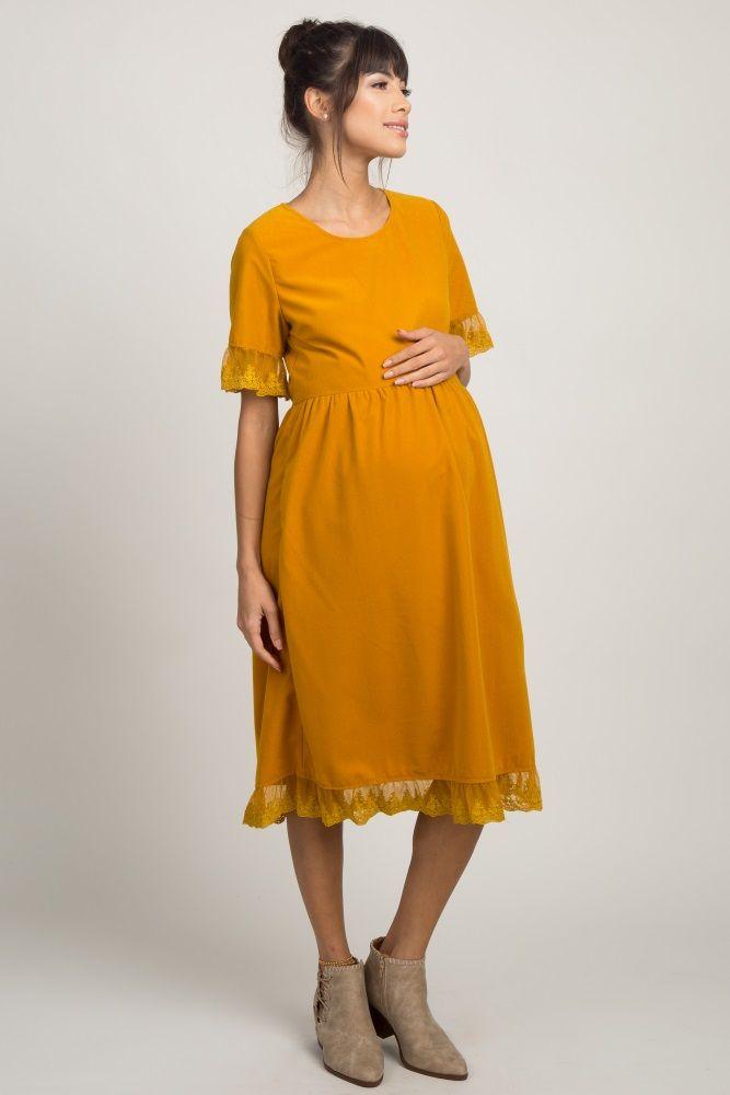7fde2b6d7f Mustard Corduroy Lace Trim Maternity Dress