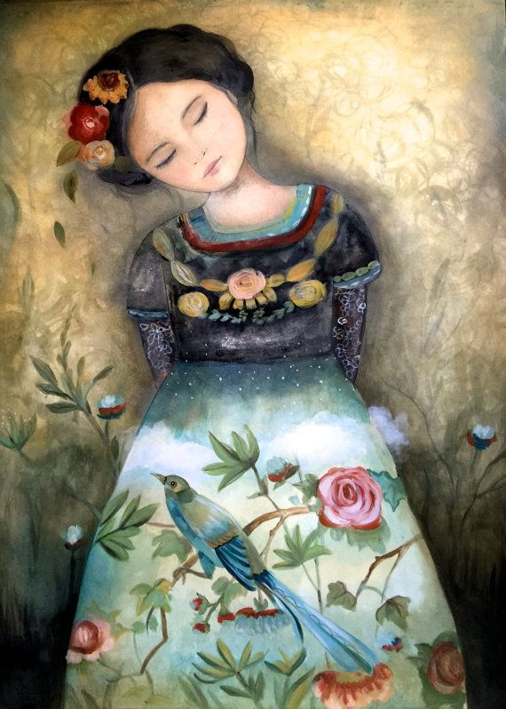 Art print ,drawing, love, portrait artwork ,claudia tremblay spring is coming