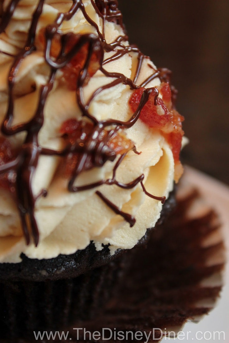 """Disney Recipes: """"The King"""" (Elvis) Cupcake from Disney's Pop Century Resort (Chocolate cake, banana filling, peanut butter frosting, candied bacon and chocolate drizzle) www.TheDisneyDiner.com"""