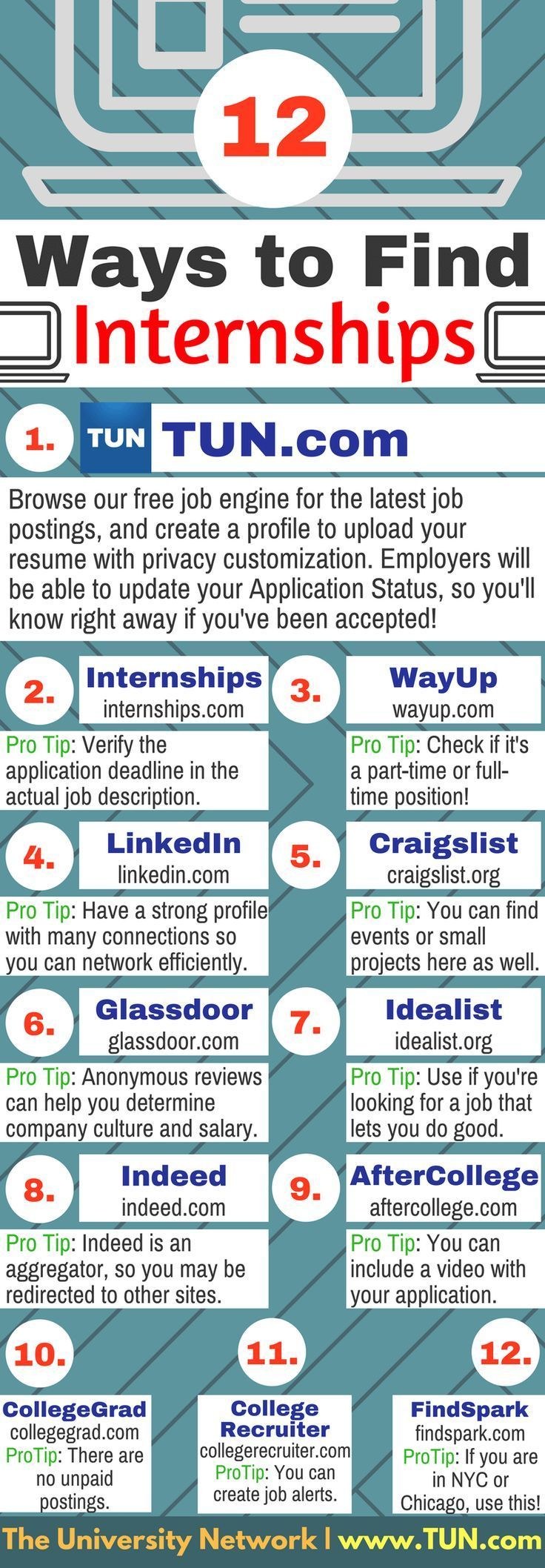 If you are a college student looking for internships, check out the job board at The University Network (TUN). Like all our other products, TUN's job engine is wholly dedicated to college students who are still in school, so we concentrate only on placing students as interns (paid and unpaid), part-timers, virtual, and brand ambassadors. #Collegetips