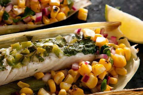 Heaven is...... a Corn-Husk-Wrapped Grilled Halibut with Charred Corn Salsa