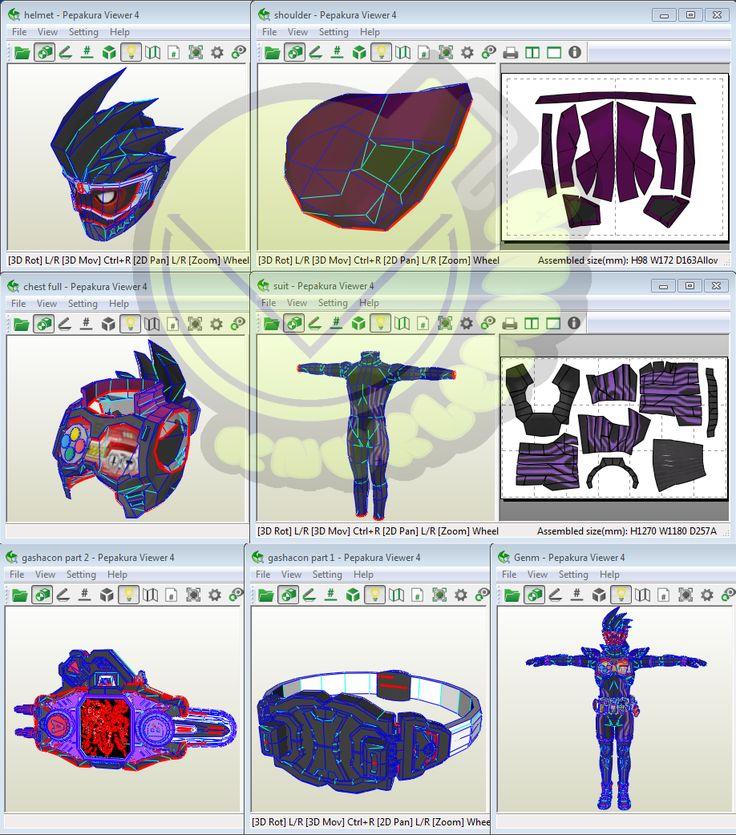 Kamen Rider Genm Costume Template / Pattern Pepakura 3D Model