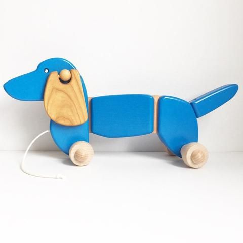 Bajo - Dachshund wooden pull-along toy - blue