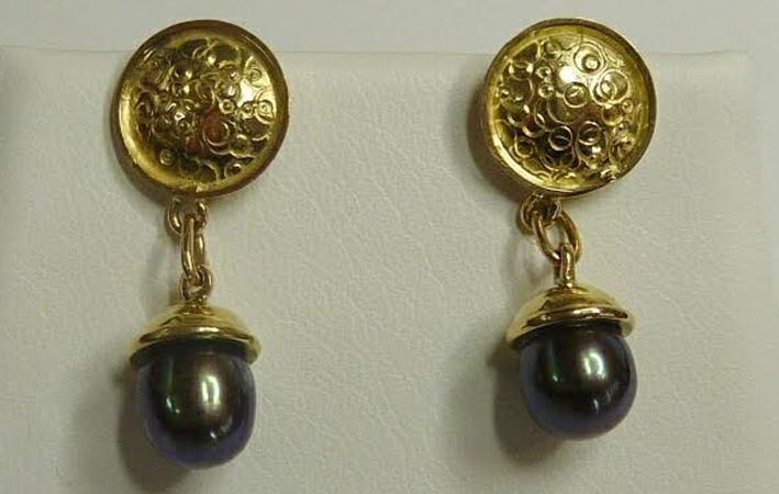 Makers Lane :: Gold Decorative Stud Earrings Custom Made, Bespoke jewellery made in Australia.