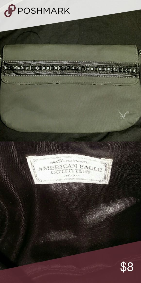 American Eagle Outfitters mini handbag Cute army green cotton shoulder bag. Top zip and flap with snap closure. Excellent condition American Eagle Outfitters Bags