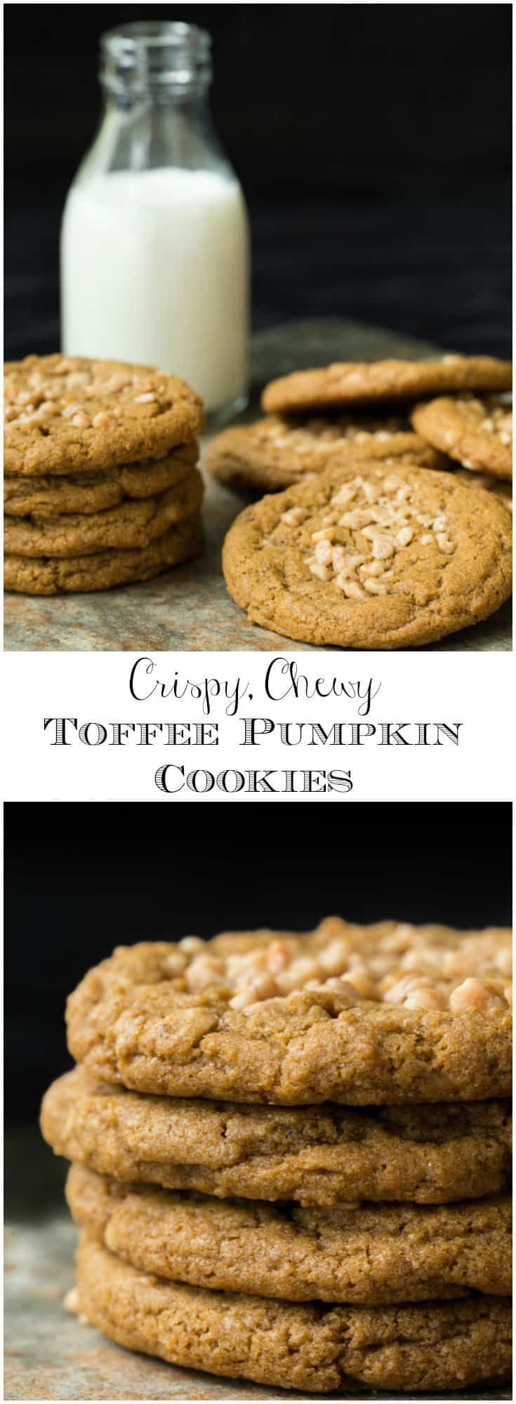 These unbelievably delicious Pumpkin Cookies are crispy and chewy at the same time and studded crunchy toffee bits. A cookie lover's dream come true! via @cafesucrefarine