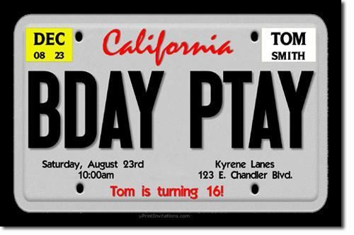 License Plate Birthday Invitations ANY WORDING - ANY COLOR SCHEME  by uPRINTinvitations, $15.00 USD