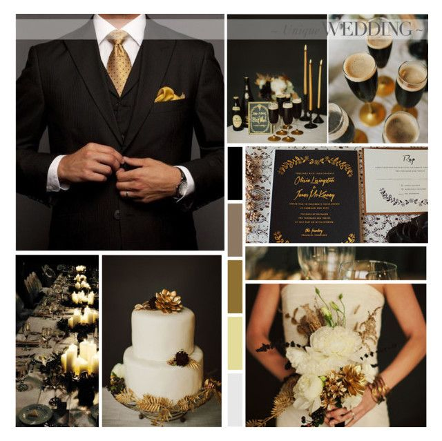 Black & Gold Wedding Inspiration by anna-nemesis on Polyvore featuring women's clothing, women's fashion, women, female, woman, misses, juniors, blackandgold and wedding