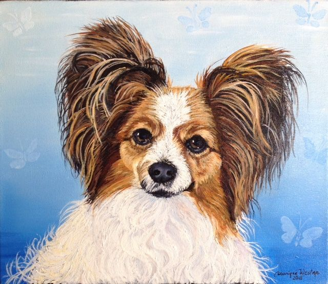 This is a portrait of an adorable Butterfly dog named Jessie done in oil on canvas by Calgary artist Monique Westra