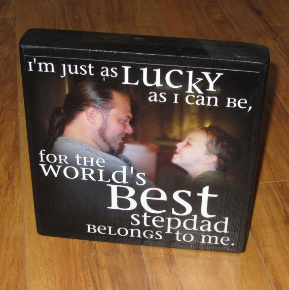 Photo Gift for STEPDAD- XL Personalized Photo Blocks- Custom made to order with ...
