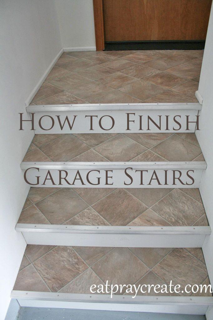 Finishing Garage Stairs using Vinyl Flooring | Eat Pray Create