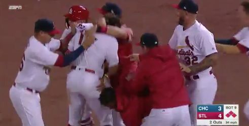 WATCH: Cardinals walk-off versus Cubs on Opening Night = [video] The Chicago Cubs opened their title defense in St. Louis against their arch rivals — the Cardinals. Although the Cubs fought back to tie the score at three in the top of the ninth, the Cardinals ultimately won baseball's first night game of the 2017 season. With the bases loaded and two outs in the ninth, left fielder…..