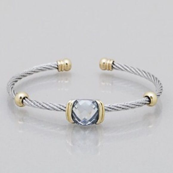 cable cuff bracelet Brand new cable cuff bracelet with crystal accents -  *please understand that this is retail meaning I had to purchase from a wholesaler so the current price is the only way I will make a profit - price is firm - thank you for your support ❤️ Jewelry Bracelets