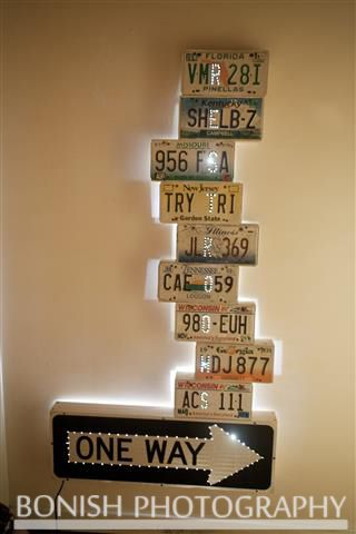 License Plate Art - Restroom Sign made from License Plates - Post Card Inn, St. Pete Beach, FL