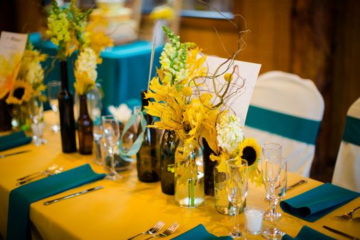 A fall wedding with a color palette of mustard yellow ...