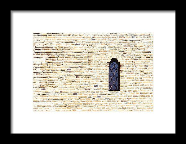 Old Castle Window On Brick Wall Framed Print