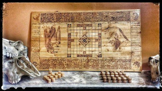 Gioco da tavolo hnefatafl, gioco di vichinghi, Kings tavolo, Tafl, legno bruciato gioco legno, scandinavo, Odin, Viking scacchi