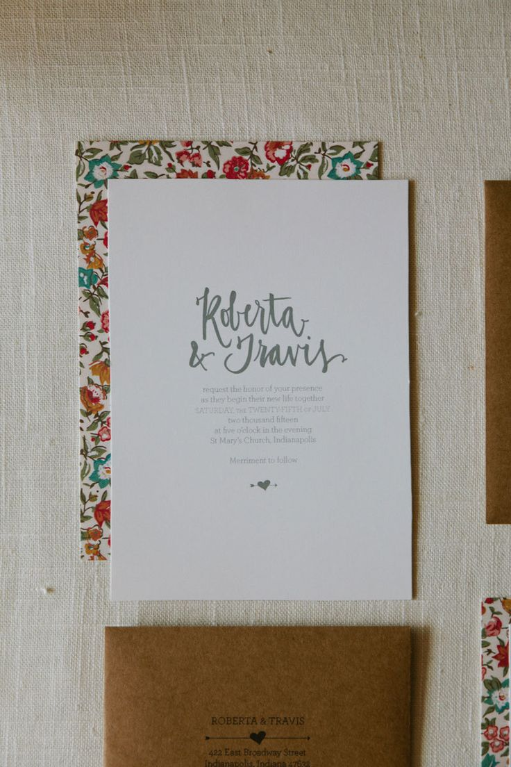 ROBERTA Wedding Invitation Suite Letterpress. $25.00, via Etsy. - LOVE THESE!!!  Great envelopes and simple invite!