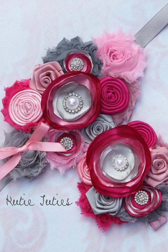 Vintage Pink and Gray Maternity Sash Headband by KutieTuties, $28.00