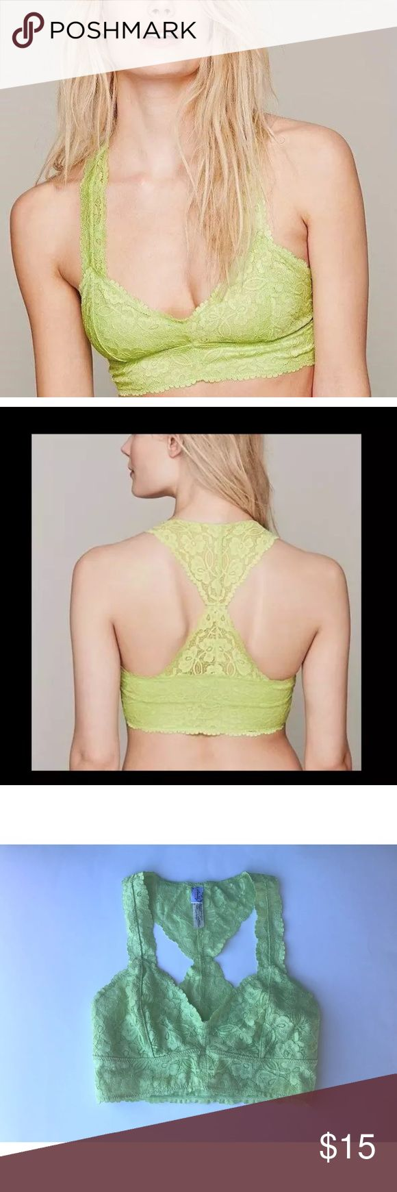 Intimately Free People Galloon Lace Racerback Intimately Free People Galloon Lace Racerback Crop  size : XS (fits 32A and 32B in US/Canada and 32B and 32C in UK)   color: Lime Green    Stretchy Floral lace with mesh lining and scalloped edges   Plunging neckline ..slips on over head Free People Intimates & Sleepwear Bras