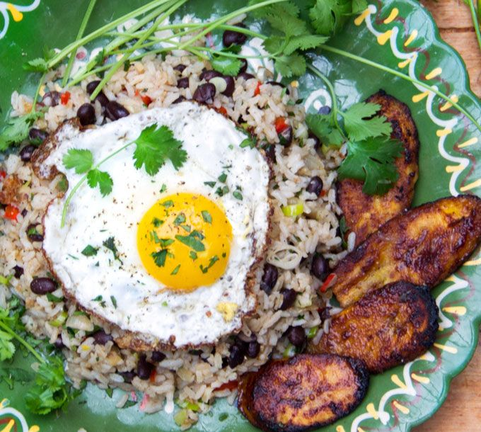 Gallo pinto is a scrumptious popular Costa Rican breakfast of rice, beans and aromatic vegetables served with eggs and a side of caramelized plantains.