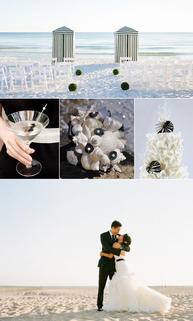 Modern Beach Wedding Decorations in Black and White