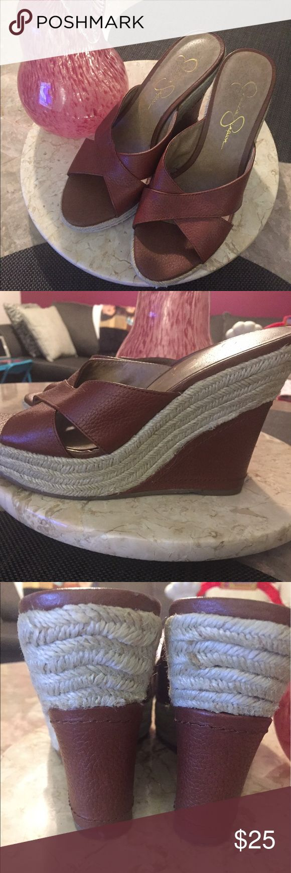 Jessica Simpson wedge slip on Jessica Simpson wedge heel sign of wearing ✅still got life Jessica Simpson Shoes Wedges