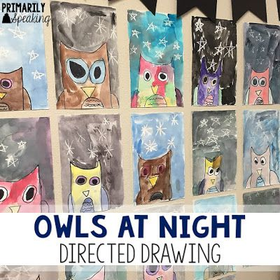 Primarily Speaking: Owls at Night {A Directed Drawing}