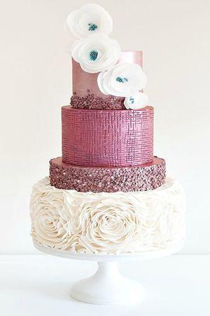 spectacular glitter pink wedding cakes for the creative birdes