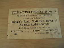 "Unusual ANTIQUE 1917 ""VOTING PRECINCT CARD""~City of VALLEJO CA~Ephemera~"