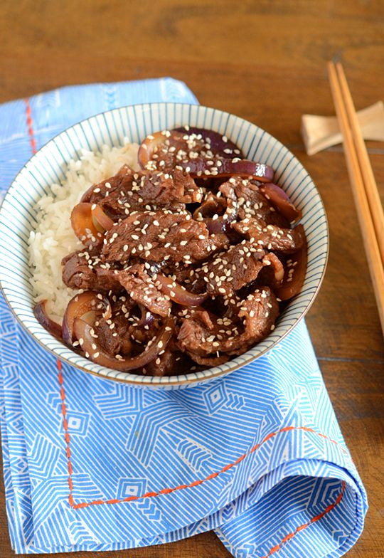 Japanese Beef and Rice Bowl (Gyudon)