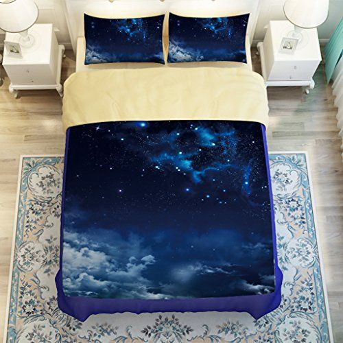 Galaxy Bed Sheet Set Blue Outer E Night Themes Https