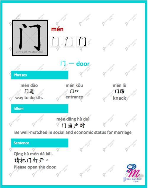 #365Chinese - Character of the Day @ #PaceMandarin mén 门 door http://www.pace-mandarin.com/men2-door/