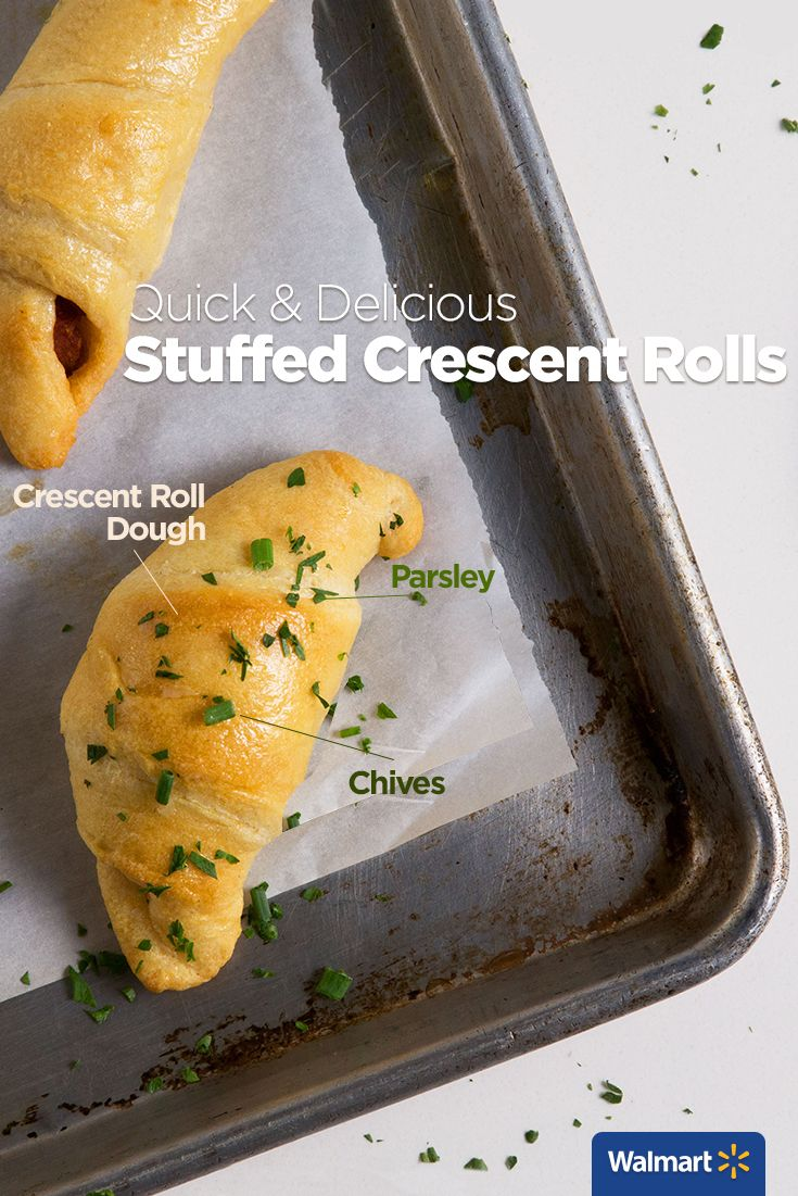 Pillsbury Crescent Rolls | Walmart - Fill Pillsbury Crescent Rolls with a few simple ingredients—like parsley and chives, Parmesan cheese, and sundried tomato with goat cheese and pine nuts—for three apps the whole family will love!