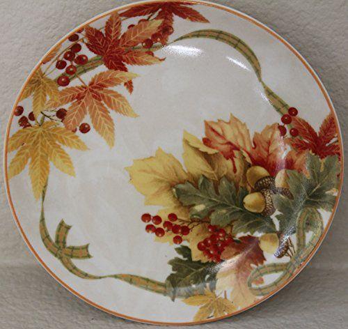 "222 Fifth Autumn Celebration Dessert/appetizer Plates - Set of 4 - for Thanksgiving - 6 1/4"""