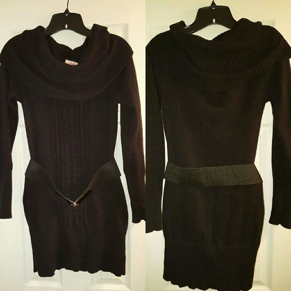 L Candies long sweater Candies black belted sweater.  Good condition....worn a few times.  Some piling but not much (see last pic).  Comes with belt.  The front features small cutouts going down the front (see second pic - you can wear a dark tank underneath to avoid skin showing).  Size Large in Juniors so it's similar to a medium in ladies.  Cute with skinny jeans/pants or leggings. **If discount shipping is being offered I will lower price by 10%, just let me know if you are interested…